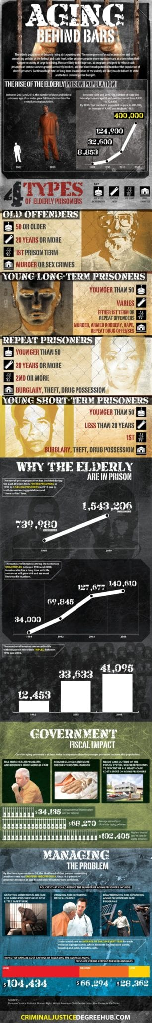 Statistics on aging prisoners in jail.  More information here:  http://www.criminaljusticedegreehub.com/geriatric-prisoners/